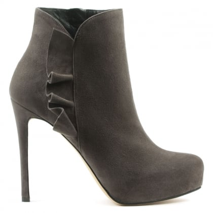 Daniel Myra Grey Suede Ruffled Ankle Boot