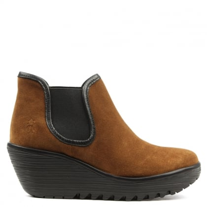 Fly London Yat Tan Suede Mid Wedge Chelsea Boot