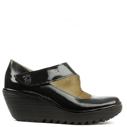 Fly London Yasi Black Patent Leather Mary Jane Wedge Shoe