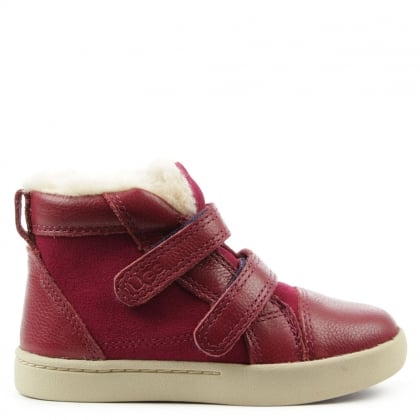 UGG Kids Rennon Princess Pink Suede & Leather High Top Boot