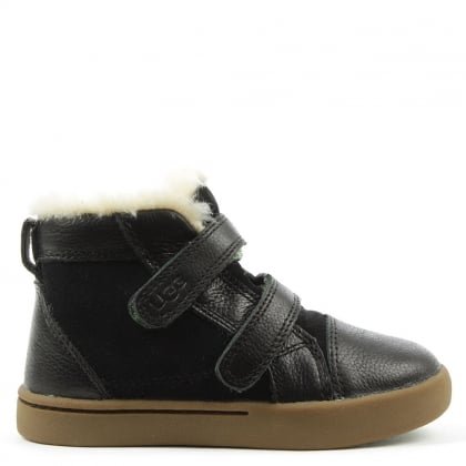 UGG Kids Rennon Black Suede & Leather High Top Boot