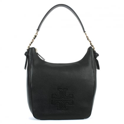 Tory Burch Harper Black Leather Top Zip Hobo Bag