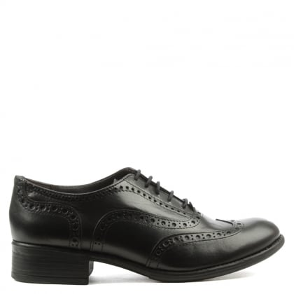 Manas Black Leather Lace Up Brogue Shoe