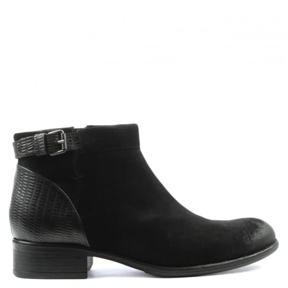 Manas Black Leather Low Heel Buckled Ankle Boot