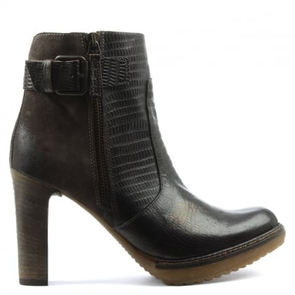 Manas Brown Leather Contrast Zip & Buckle Ankle Boot