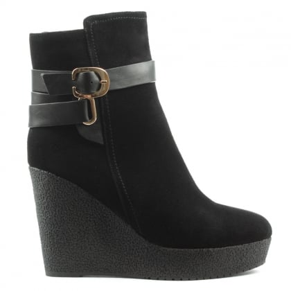 DF By Daniel Sandhurst Black Suede High Wedge Buckle Ankle Boot