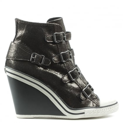 Ash Thelma Black Metallic Leather Hi-Top Wedge Trainer