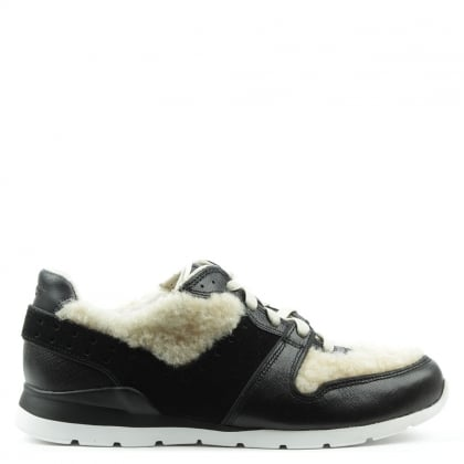 UGG Deaven Black Leather & Sherling Lace Up Trainer