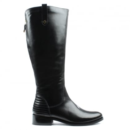 DF By Daniel Grassmere Black Leather Tall Flat Riding Boot