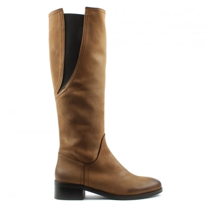 Daniel Georgette Tan Suede Elasticated Panel Knee Boot