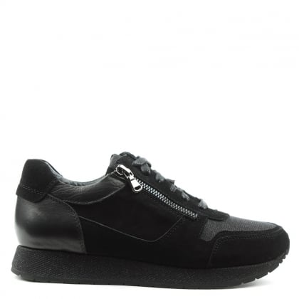 Daniel Pilar Black Suede Double Zip Glitter Trainer