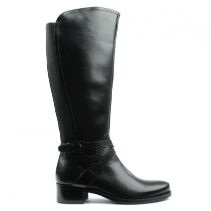 DF By Daniel Ullswater Black Leather Strapped Knee Boot