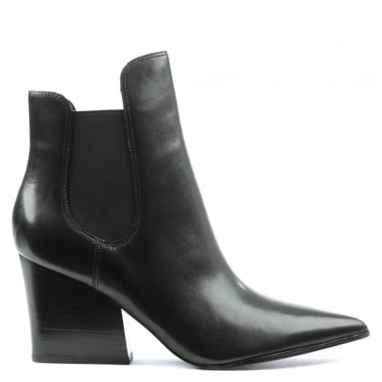 Kendall + Kylie Finley Black Leather Block Heel Chelsea Boot