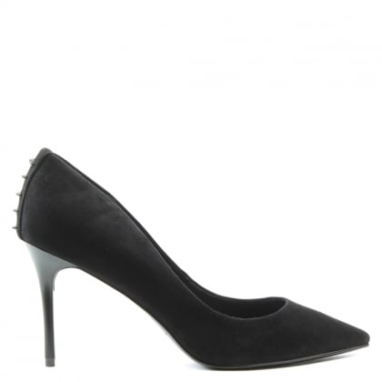 Kendall + Kylie Britney Black Suede Studded Court Shoe