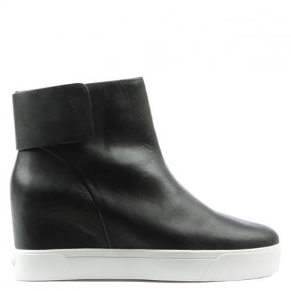 DKNY Cathy Black Leather Concealed Wedge Sporty Ankle Boot