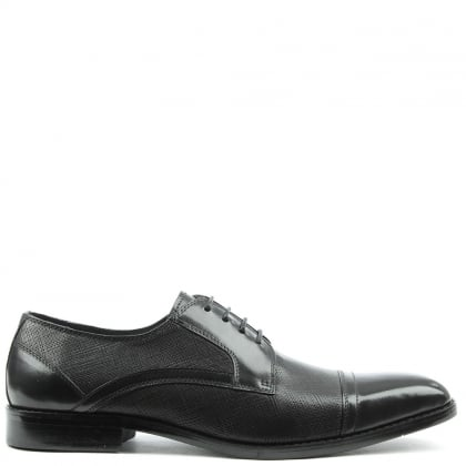 Daniel Thornford Black Leather Embossed Lace Up Shoe