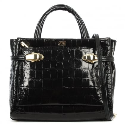 Cavalli Class Pandora Black Leather Reptile Embossed Mini Tote Bag
