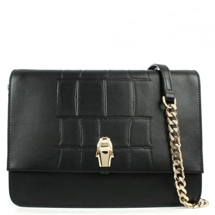 Cavalli Class Panthera 4Ever Black Leather Shoulder Bag