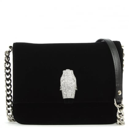 Cavalli Class Milano Mini Black Velvet Shoulder Bag