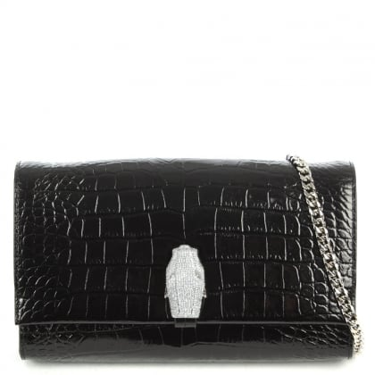 Cavalli Class RSVP Treasure Black Leather Reptile Embossed Shoulder Bag