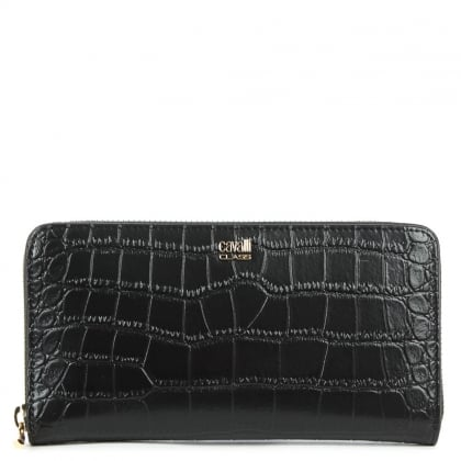 Cavalli Class Fame Black Leather Reptile Embossed Wallet
