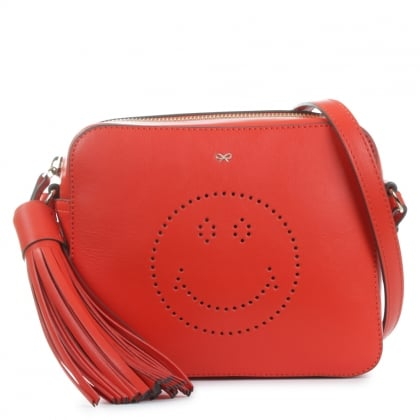 Anya Hindmarch Red Smiley Crossbody Bag