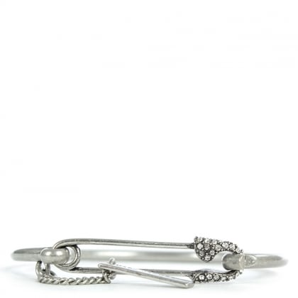 Marc Jacobs Charms Silver Tone Safety Pin Pave Cuff