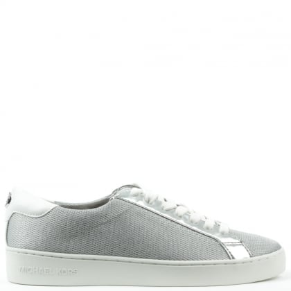 Michael Kors Irving Silver Leather & Mesh Lace Up Trainer