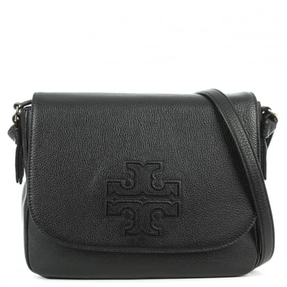 Tory Burch Harper Black Leather Messenger Bag