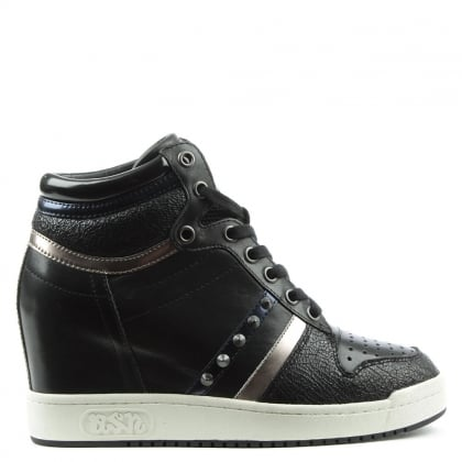 Ash Prince Bis Black Leather Studded Wedge High Top Trainer