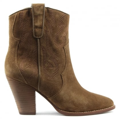 Ash Joe Embroidered Wilde Tan Suede Leather Ankle Boot