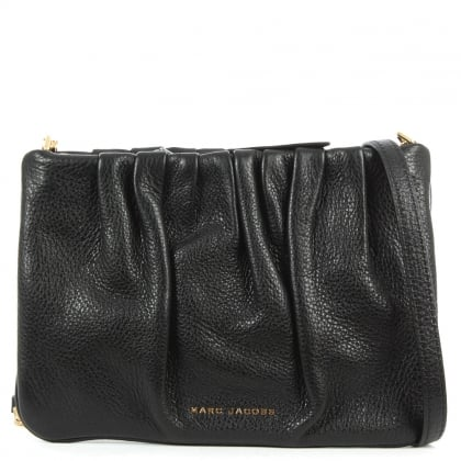 Marc Jacobs Gathered Detail Black Leather Pouch Cross-Body Bag