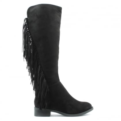DF By Daniel Willow Park Black Fringed Knee High Boot