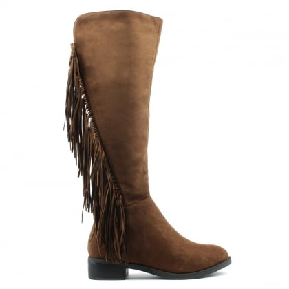 DF By Daniel Willow Park Tan Fringed Knee High Boot