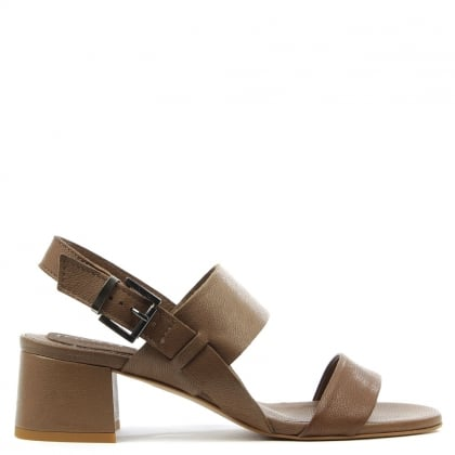 Daniel Mori Taupe Leather Two Bar Block Heel Sandal