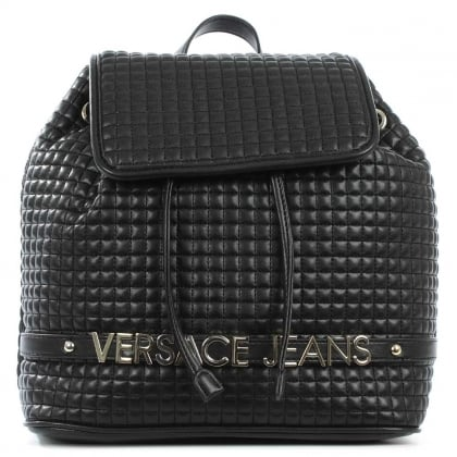 Versace Jeans Liberty Black Quilted Logo Backpack