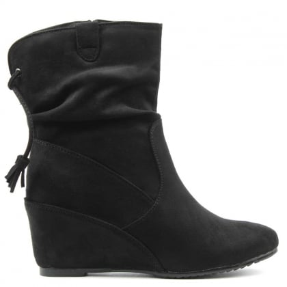 DF By Daniel Storking Black Wedge Ankle Boot