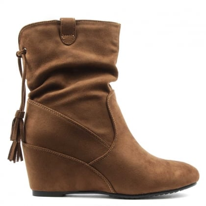 DF By Daniel Storking Brown Wedge Ankle Boot