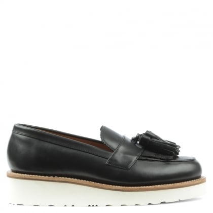Grenson Clara Black Leather Tassel Loafer