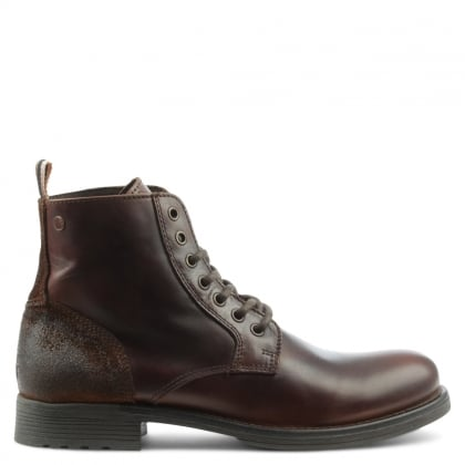 Jack & Jones Sting Brown Leather Lace Up Ankle Boot