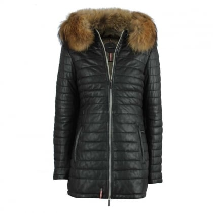 Oakwood Black Leather Raccoon Fur Trim Long Line Jacket