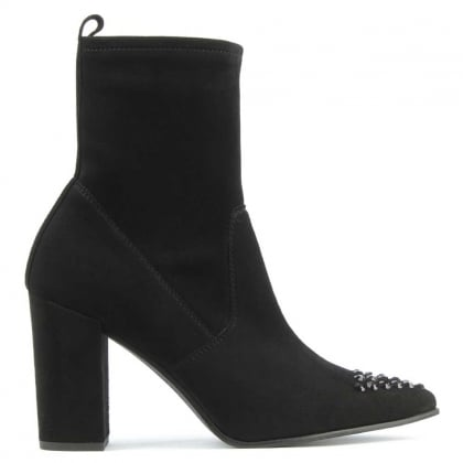 Kennel & Schmenger Jewelled Toe Black Suede Block Heel Ankle Boot
