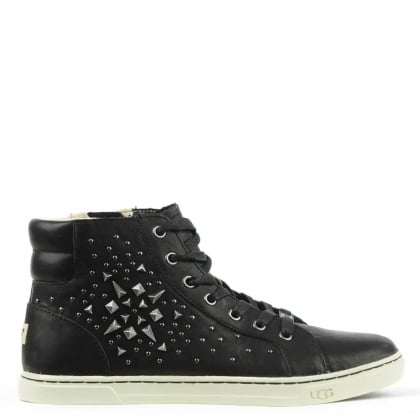 UGG Gradie Studded Black Leather High Top Trainer