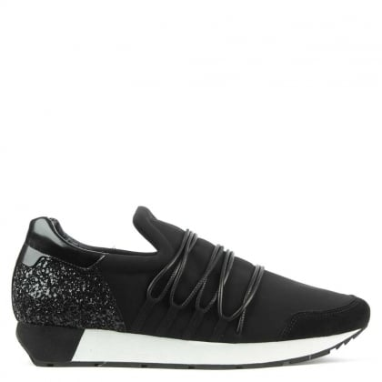 Kennel & Schmenger Stretch Upper Black Glitter Back Trainer