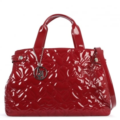 Armani Jeans Heart Burgundy Patent Shopper
