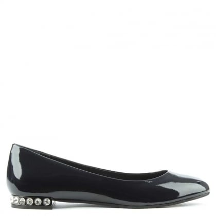 Daniel Blanche Navy Patent Leather Crystal Embellished Ballet Pump