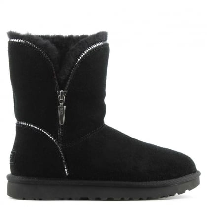 UGG Florence Black Suede Curved Zipper Ankle Boot