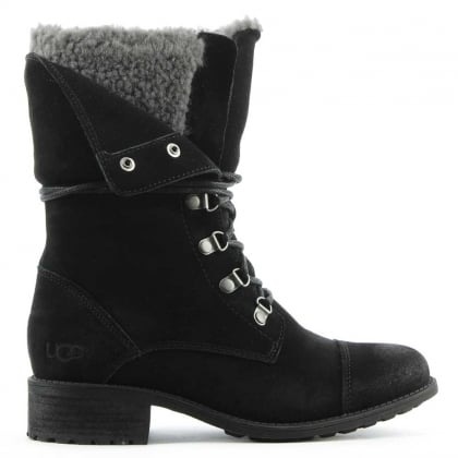 UGG Gradin Black Leather Cuffed Lace Up Ankle Boot