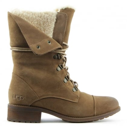 UGG Gradin Dark Chestnut Leather Cuffed Lace Up Ankle Boot
