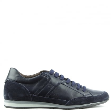 Just Hype  Navy Leather Sporty Lace Up Trainer